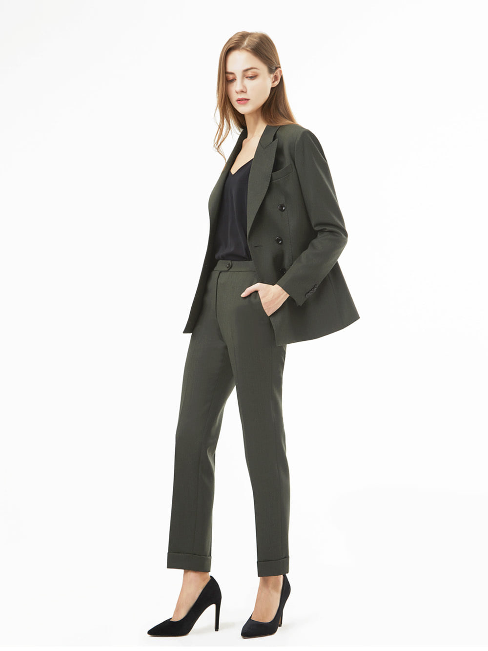 Holland&Sherry Gaberdine Khaki Suit